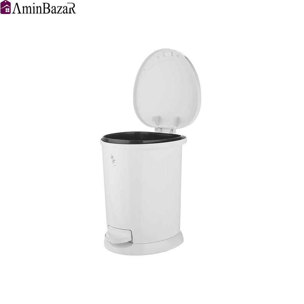 سطل زباله پلاستیک مدل ساتین سفید