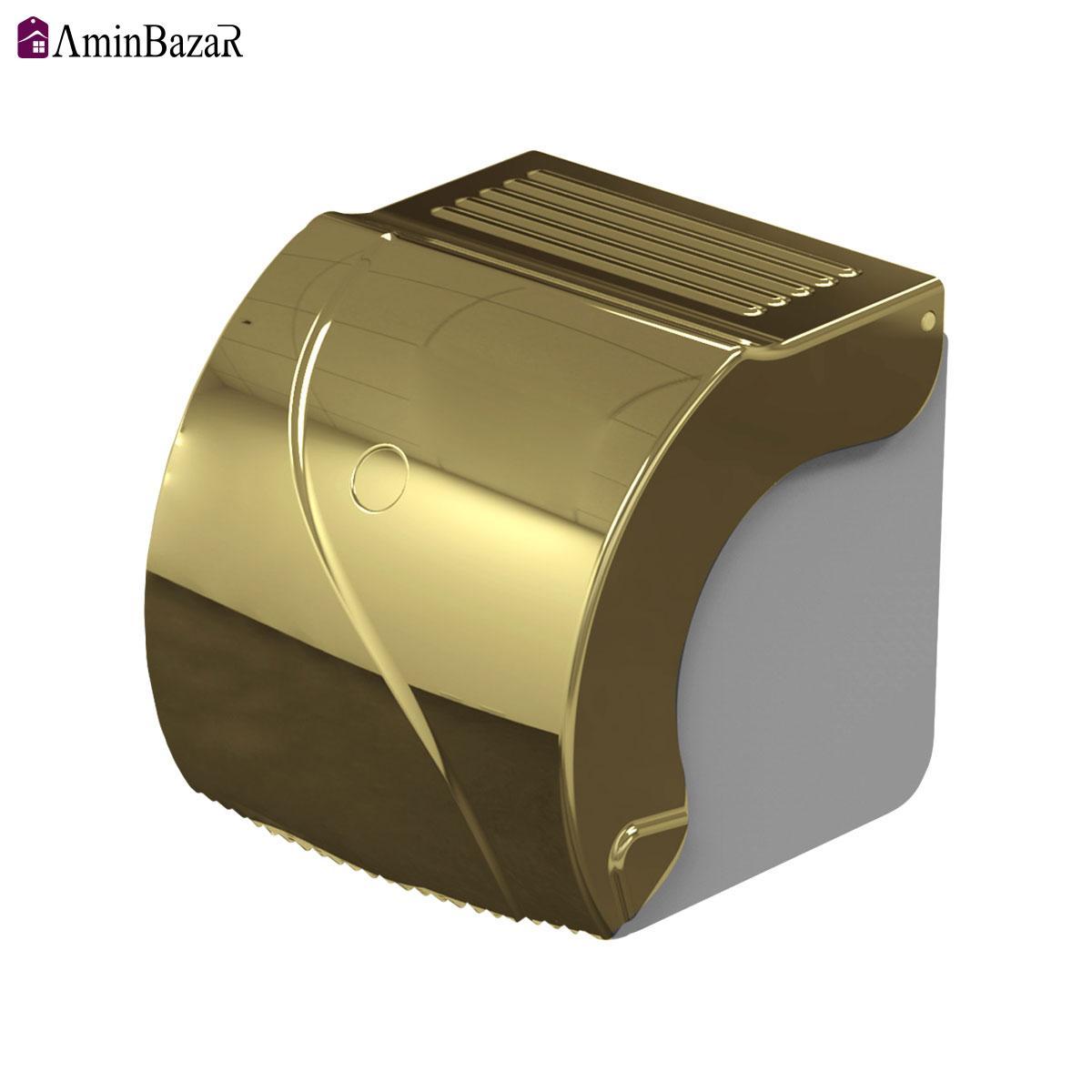 جا دستمال طلایی توالت سنی پلاستیک مدل مادیس