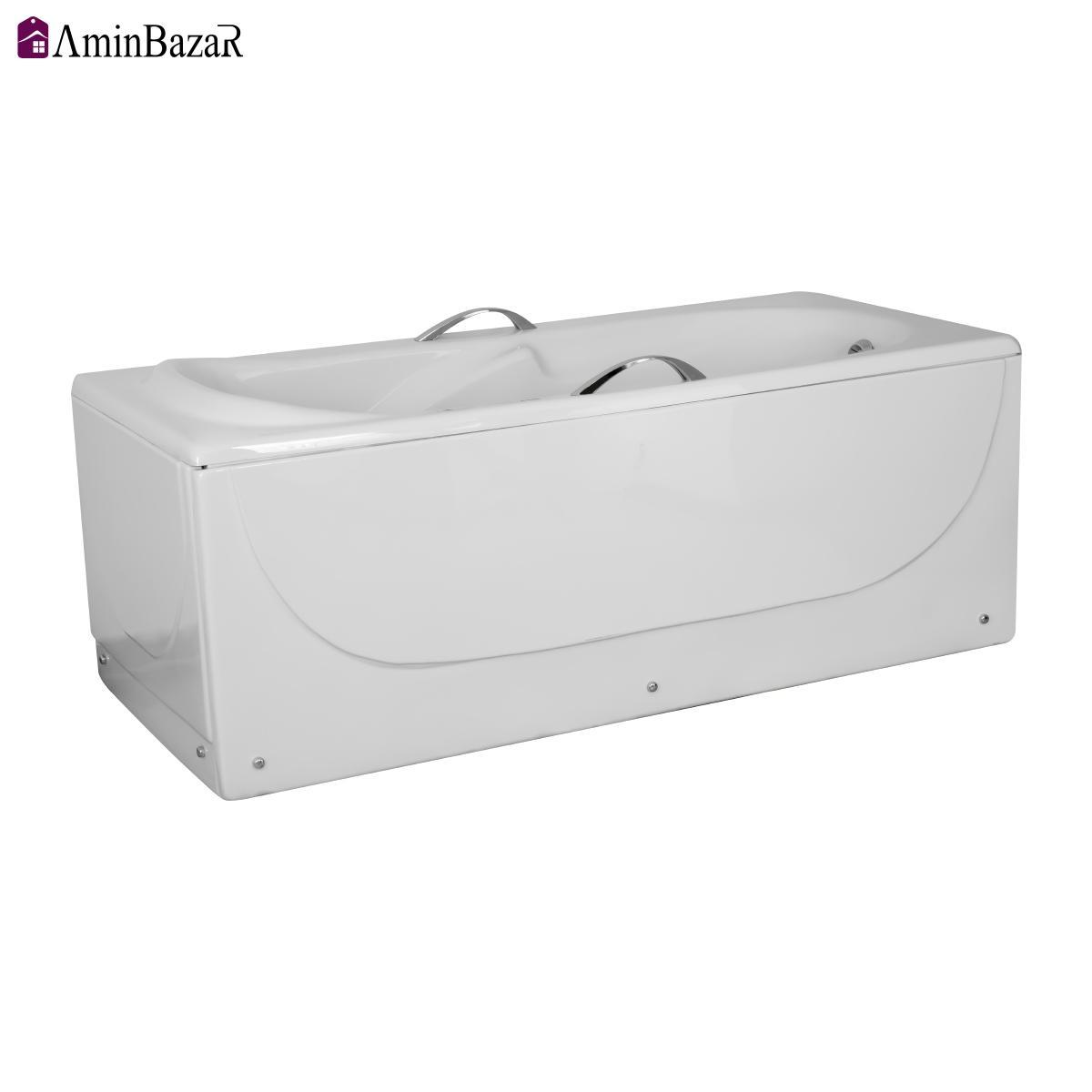 وان حمام سنی پلاستیک مدل اطلس با شاسی و پانل اندازه 150 * 70سانتیمتر